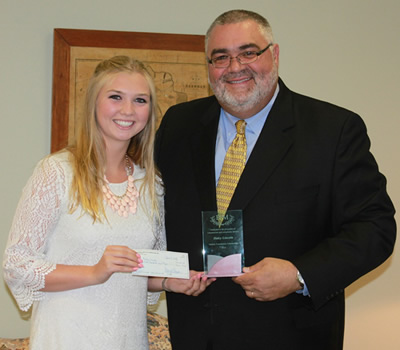 2013 Melick Foundation Scholarship Winner: Haley Lincoln with Melick Foundation President Jim Healy